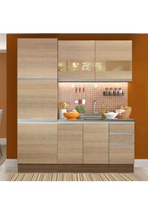 Cozinha Compacta Madesa Ester 7 Portas 3 Gavetas (Sem Tampo E Pia) Marrom