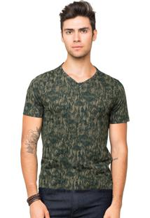 Camiseta Tony Menswear Estampada Verde Militar