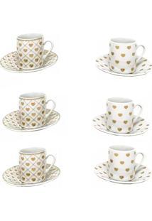 Xícara Para Café Cute Porcelana 6 Peças - 29455