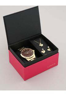 Kit De Relógio Analógico Lince Feminino + Brinco + Colar - Lrgj097L Kw17N1Kx Dourado - Único