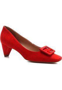Scarpin Shoestock Nobuck Fivela Forrada - Feminino-Vermelho