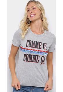 Camiseta Eagle Rock Comme Ci Paetês Feminina - Feminino-Cinza