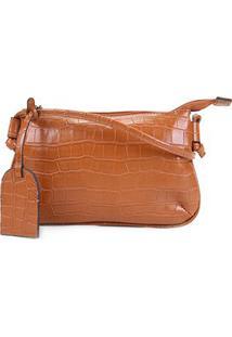 Bolsa Shoestock Crossbody Travel Croco Feminina - Feminino-Caramelo
