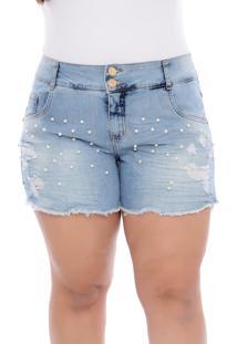 Short Jeans Plus Size Delavê Azul Perolado