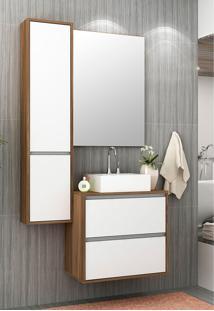 Conjunto Para Banheiro Firenze Nogal/Branco Bosi - Tricae