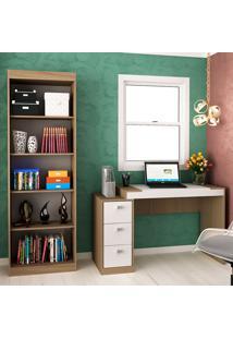 Escrivaninha Com 3 Gavetas E Estante Para Escritório-Ho-2955-Hecol - Avela / Branco