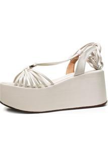 Sandã¡Lia Anabela Plataforma Damannu Shoes Debbie Branco - Branco - Feminino - Couro Sintã©Tico - Dafiti