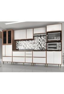 Cozinha Completa 6 Peã§As Calã¡Bria Snow Nogueira/Branco - Incolor/Marrom - Dafiti