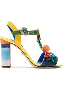 Dolce & Gabbana Sandália Bordada Com Strass - Estampado