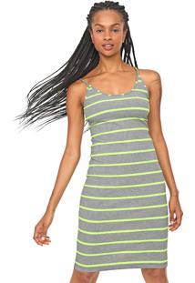 Vestido Colcci Curto Neon Listrado Cinza/Verde