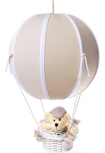 Lustre Balão Bolinha Urso Quarto Bebê Infantil Potinho De Mel Bege