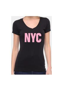 Camiseta Suffix Preta Gola V Estampa New York City Rosa Bebe