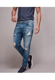 Calça Jeans Masculina Skinny Destroyed Azul Médio