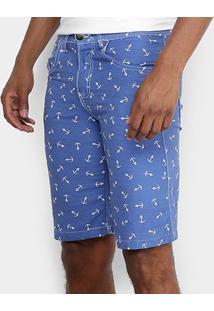 Bermuda De Sarja Zamany Bolso Faca Xadrez Masculina - Masculino-Azul