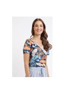 Blusa Feminina Estampada Floral Manga Curta Decote V Azul Marinho