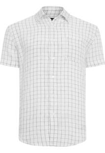 Camisa Masculina Linen Thin Grid - Off White