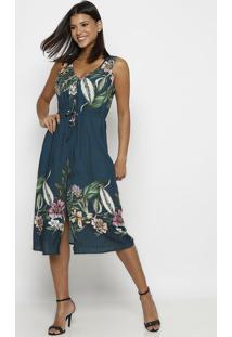 Vestido Com Recortes & Amarração- Verde Escuro & Verdevip Reserva
