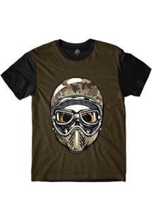 Camiseta Bsc Caveira De Capacete Camuflagem Masculina - Masculino-Marrom