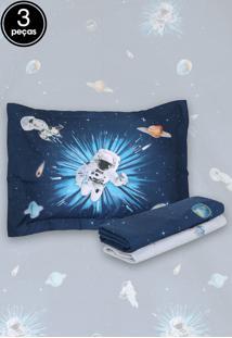 Jogo De Cama 3Pçs Solteiro Kacyumara Vida Bela Astronauta Azul