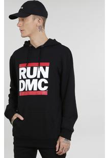 Blusão Masculino Run Dmc Em Moletom Com Capuz Preto