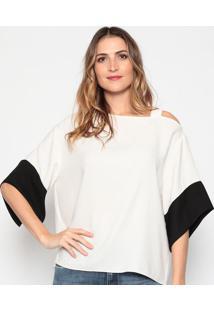 Blusa Assimétrica Com Recortes - Off White & Pretadudalina