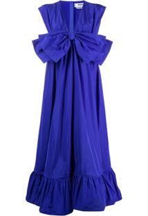 Msgm Vestido Com Babados E Detalhe De Laço - Azul
