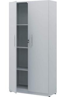 Armário Para Escritório 2 Portas Luxo Plata Móveis Cinza