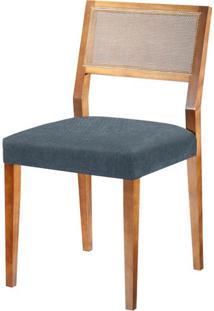 Cadeira Caiscais Assento Cor Azul Com Base Nogal - 46486 - Sun House