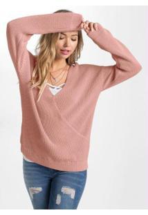 Suéter De Tricô Transpassado Rosê