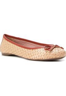 Sapatilha Shoestock Ráfia Laço Feminina - Feminino-Marrom
