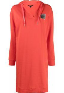 Armani Exchange Vestido Com Capuz E Patch De Logo - Vermelho