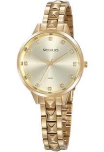 Relógio Seculus 38Mm Aço Feminino - Feminino-Dourado