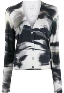 Alexander Mcqueen Abstract Print Cardigan - Preto