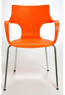 Cadeira Jim Base Fixa Cromada Cor Laranja - 10315 - Sun House