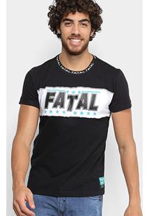 Camiseta Fatal Recorte Stars Gola Personalizada Masculina - Masculino-Preto