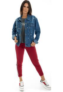 Jaqueta La Mandinne Jeans Pérolas Azul Escuro