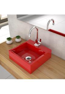Cuba De Apoio Para Banheiro Compace Veneza Q395W Quadrada Vermelha