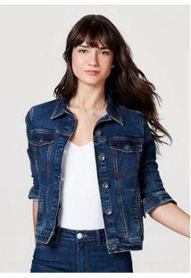 Jaqueta Jeans Moletom Feminina - H86Nnjkej4 - Feminino-Azul