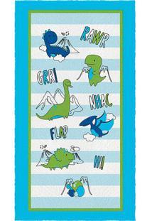 Toalha De Banho Felpuda Dino- Azul & Verde- 60X110Cmlepper