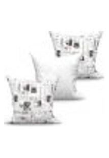 Conjunto De Capas Para Almofada Com 3 Peças Jornal Medalhão I Branco E Preto 45X45 Cm