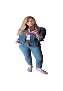 Calça Mom Com Cinto Multi Ponto Denim Jeans