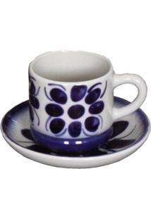 Xícara E Pires Modelo Colonial Porcelana Monte Sião