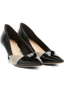 Scarpin Shoestock Salto Médio Texturas - Feminino-Preto+Off White
