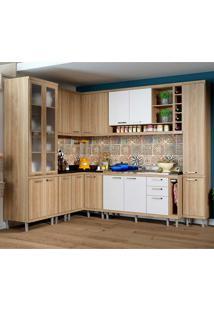 Cozinha Compacta Sem Tampo 10 Peças 5804-S3 Sicília - Multimóveis - Argila Acetinado / Branco Acetinado