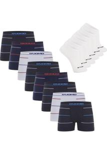 Kit Cueca Boxer Microfibra Sem Costura 8 Peças Com 3 Pares De Meia Invisível - Duomo - Masculino