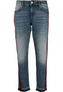Escada Sport Calça Jeans Com Listrado Zebra - Azul