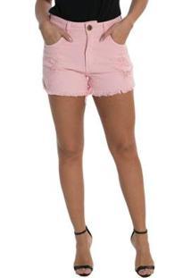 Shorts Jeans Denuncia Boyfriend Feminino - Feminino-Rosa
