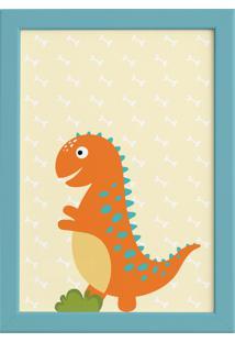 Quadro Infantil Quartinhos Dinossauro Baby 2 Laranja 22X32 Moldura Azul