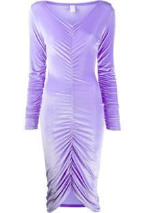 Fantabody Draped Velvet Dress - Roxo