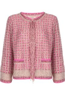 Twin-Set Frayed Trim Tweed Jacket - Rosa